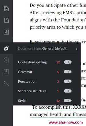 Detailed sidebar of the Grammarly online service workspace