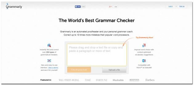 Home page of Grammarly website for review