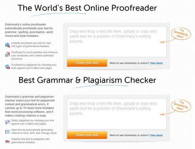 Online Grammarly checking services for proofreading and plagiarism