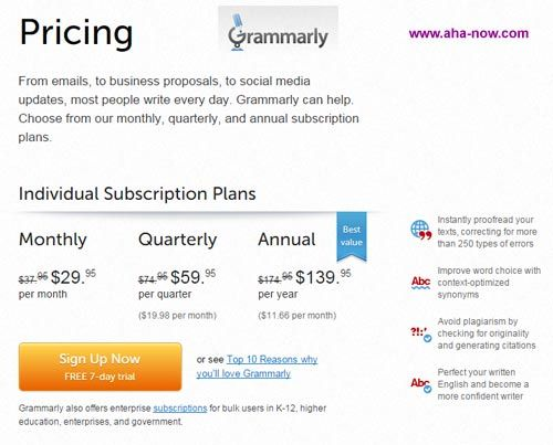 Snapshot of Grammarly pricing page