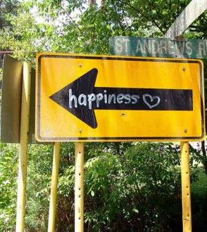 A road signboard showing the way to happiness