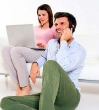 Woman having affair online with spouse being unawares