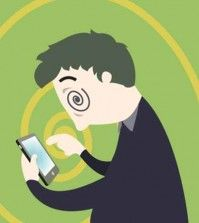 A cartoon showing a man addiction to his smartphone