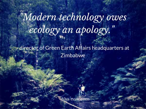 Poster with quote saying that modern technology owes ecology an apology