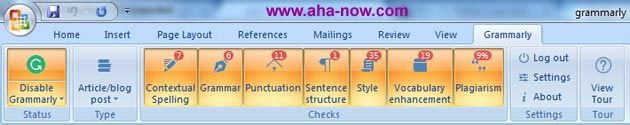 Detailed menu toolbar of Grammarly proofreading MS Word add-in