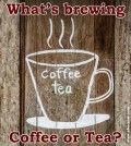 Cup drawn on wood and coffee tea written on it