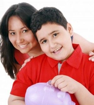 Mother teaching child how to live frugally by saving