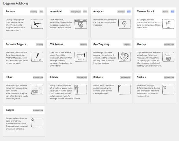 Add-ons page of Icegram WordPress plugin