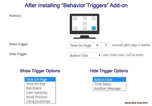 Behavior trigger screen options