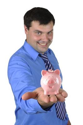 Man offering piggy bank with saved money as help