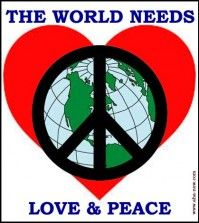 Symbol of peace upon earth and background of heart