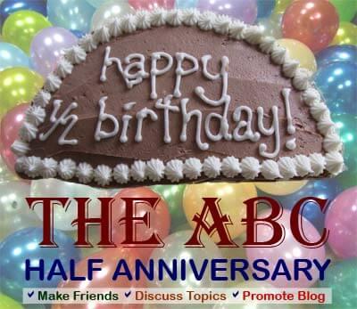 half anniversary banner of ABC with half cake image