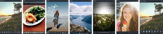 Screenshots of Aviary photo editor Android App