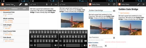 Screenshots of Blogger Android App