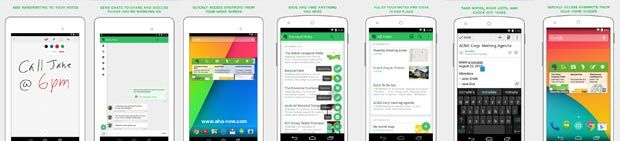 Screenshots of Evernote Android App