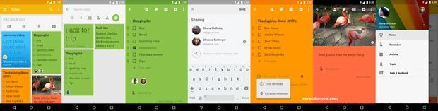 Screenshots of Google Keep Android App