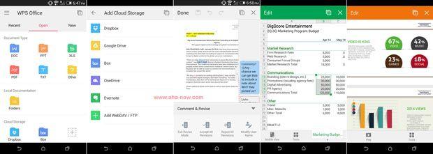 Screenshots of Kingsoft WPS Android App