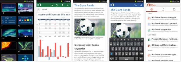 Screenshots of MS Office App