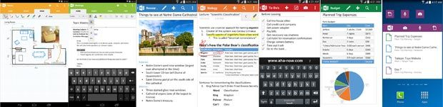 Screenshots of Microsoft Onenote Android App
