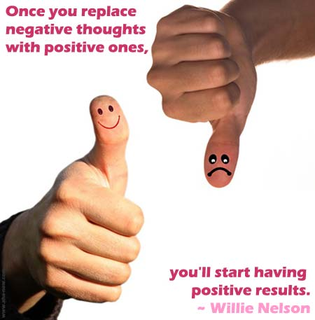 Thumbs up and thumbs down image with happy and sad faces and a quote