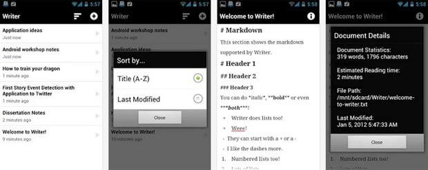 Screenshots of Android App for blogging