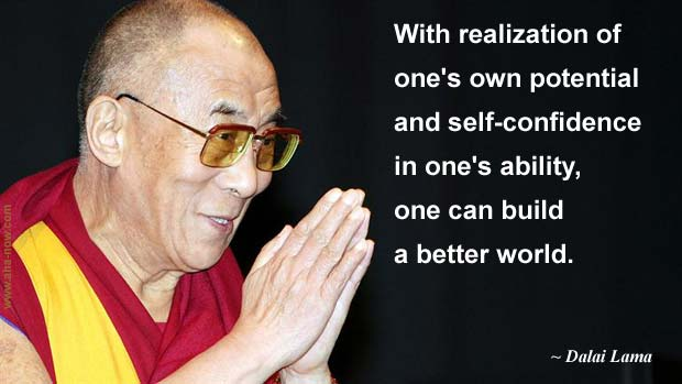 Photo of Dalai Lama and his quote