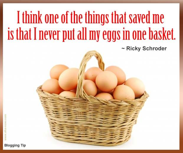 A basket full of eggs and a blogging tip written on top
