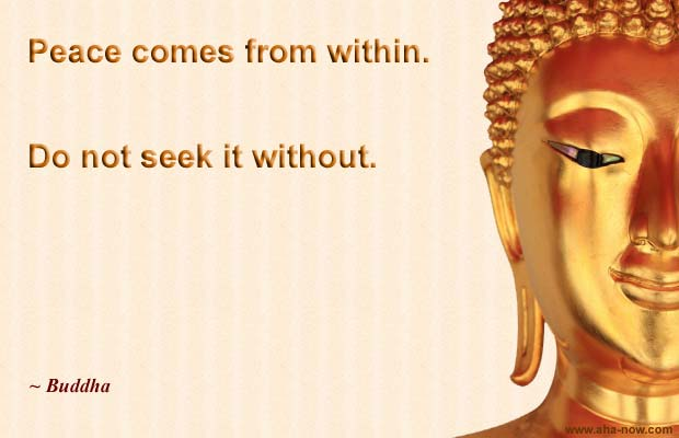 Picture of Buddha and his peace quote