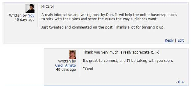 screenshot of comments between Abrar and Carol