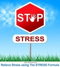 Poster showing the stop stress sign to relieve stress