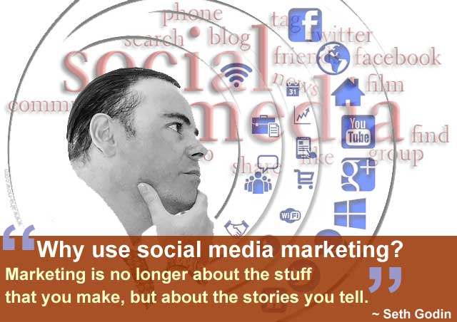 Poster showing many options for social media strategy and a quote