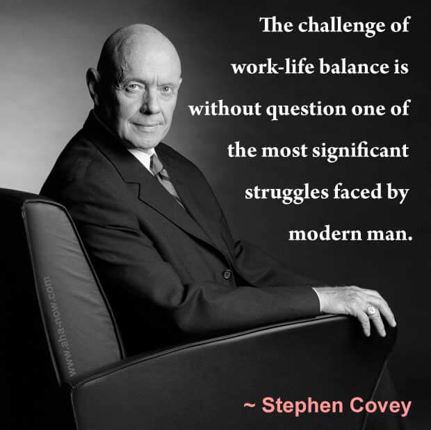 Quote on work-life balance by Stephen Covey on his photo