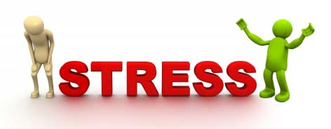 Stress written with sad and happy men on its ends.