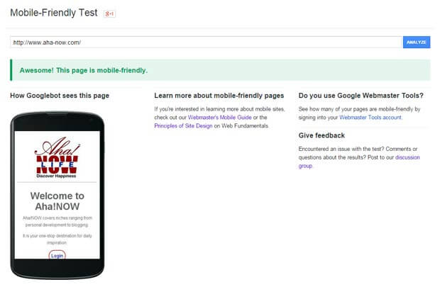 Google mobile-friendly test showing that Aha!NOW blog passes the test