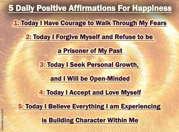five positive statements with sun in the background