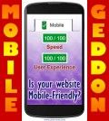 Google mobile-friendly test result on mobile and mobilegeddon text overlay