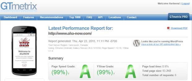 GTmetrix speed test for Aha!NOW