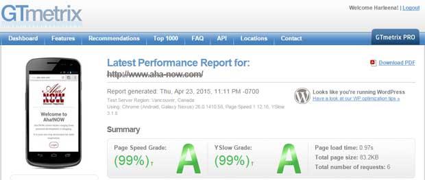 GTmetrix speed test for Aha!NOW