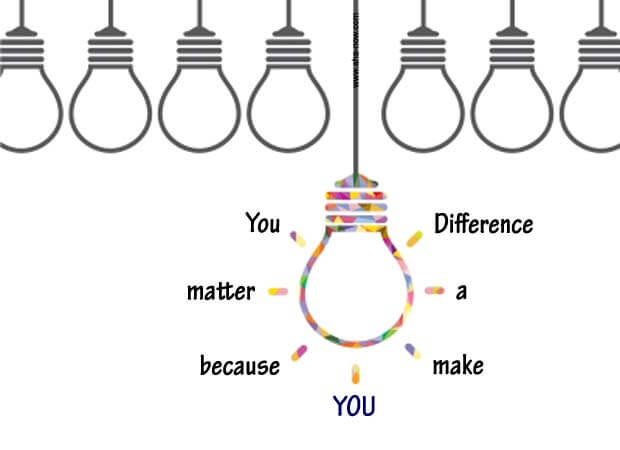 One bulb is different from other many bulbs and stands out