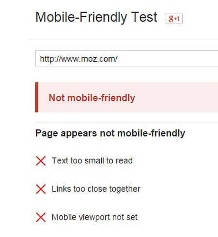Not mobile-friendly tag for Moz