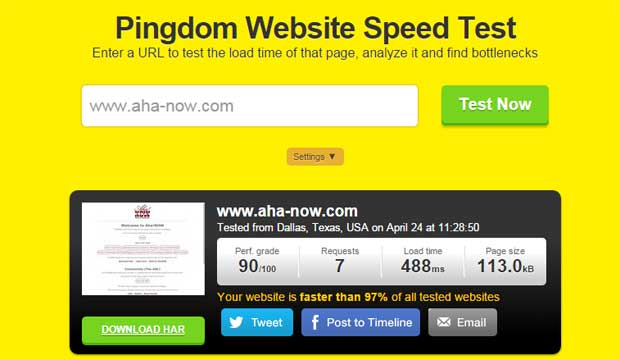 Pingdom website speed test result for Aha!NOW