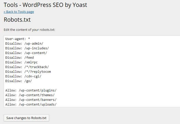 Robots.txt window of Yoast SEO plugin