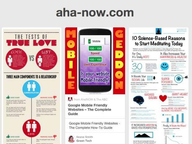 Screenshot of the Pinterest source page of Aha!NOW blog showing traffic on pins