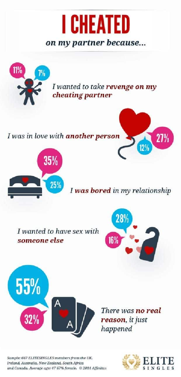 Survey result showing statements of people having cheated on their spouse
