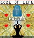 Code of life image showing a person in compassion meditation with a lock symbolizing life hack