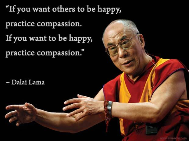 Image of Dalai Lama with a quote on how to be happy with compassion