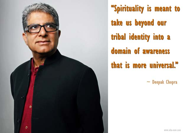 Image of Deepak Chopra with his quote on spirituality