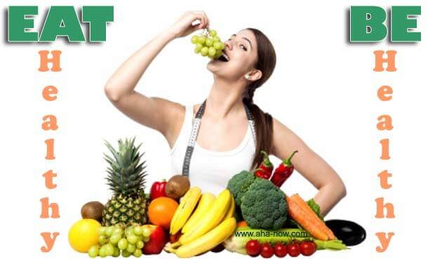 A girl eating a healthy diet mainly consisting of fruits and vegetables