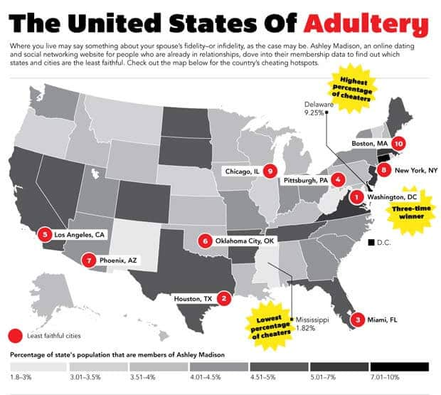 Map of USA showing places of most and least infidelity cases