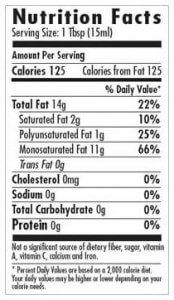 Extra virgin olive oil nutrition fact label